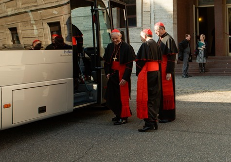 Cardinals Donald Wuerl, Daniel DiNardo and Roger Mahony board a bus at Pontifical North American College in Rome on their way to a final meeting with Pope Benedict XVI February 28, 2013. Pilot photo/Gregory L. Tracy