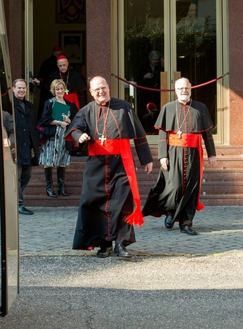 New York Cardinal Timothy Dolan and Boston Cardinal Sean O'Malley leave the Pontifical North American College in Rome on their way to a final meeting with Pope Benedict XVI February 28, 2013. Pilot photo/Gregory L. Tracy