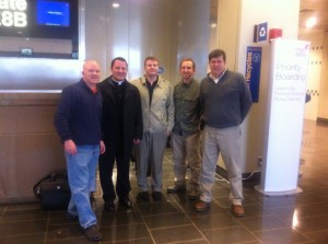 Logan airport with Fr. Jonathan, Jay, Tim and George