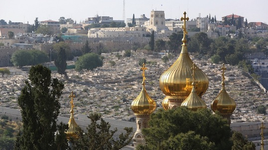 The Russian Orthodox Church of St. Mary Magdalene overlooking the massive and ancient Jewish cemetery on the Mount of Olives. (George Martell/TheGoodCatholicLife.com)