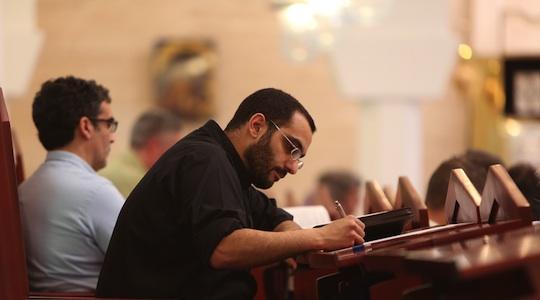 Fr. Israel Rodriguez at Domus Galilaeae (George Martell/TheGoodCatholicLife.com)