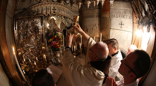 Cardinal Seán celebrates Mass in the Empty Tomb of Christ